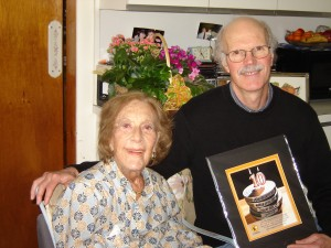 Marian McPartland and Huey with Manny Berlingo Best Documentary Film Award from the Garden State Film Festival